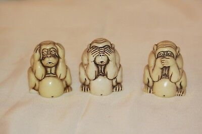 Vintage Carved Bone ~ Hear No Speak No See No Evil ~ Monkey Figures