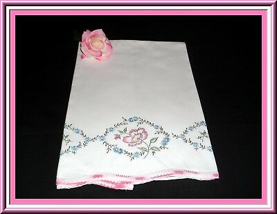 Lovely Vintage Hand Embroidered Single Pillowcase With Hand Crocheted Lace Trim