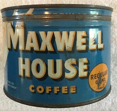 Vintage Maxwell House Coffee Fine Tin Can EMPTY with Lid one pound size