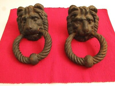 Monumental Large Antique Cast Iron Lion Head Door Knocker/s 18Th 19Th C Roar :)