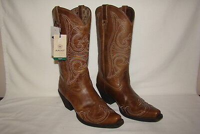 67b6b3aa0b1 Ariat Round Up Brown Leather Cowboy Boots Snip Toe Wingtip 10015290 Womens  8.5 M
