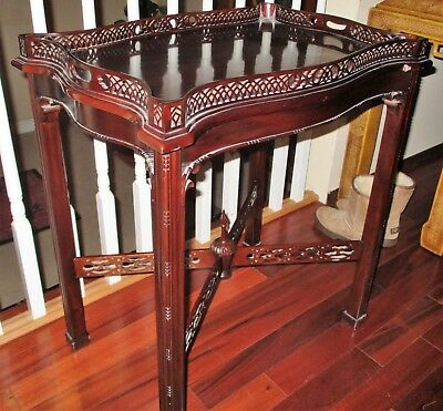 Widdicomb? Chinoiserie End Tea Tray Table Mahogany Wood Carved Gallery Ornate!