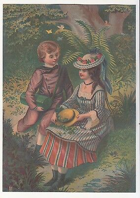 Girl and Boy in Woods Sitting Hats  No Advertising Vict Card c 1890s