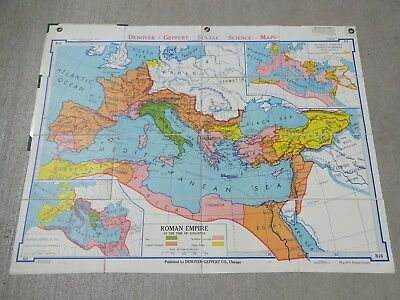 Vintage 1963  Denoyer-Geppert Canvas Backed Folding Map B16 ~ ROMAN EMPIRE
