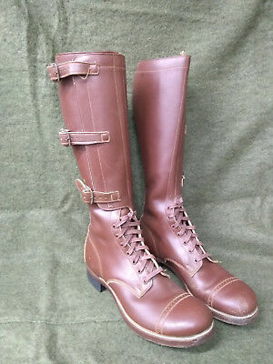 Original Vintage WWII / WW2 Army Officer 3-Buckle Brown Boots - Size 10B