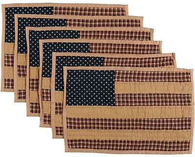 US Flag Tribute Quilted Placemat Set of 6 Country Kitchen Table Patriotic Patch