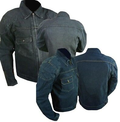 Genuine Denim Motorcycle Motorbike Jacket with protective armour blue & black