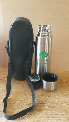 Girl Scouts Michigan Stainless Steele Thermos Coffee 9.5 Height & Leather Case