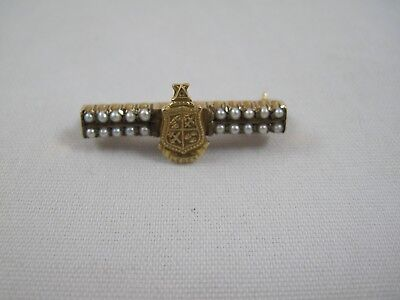 Leges 10k Solid Yellow Gold Seed Pearl Pin Delta Chi 2.6g