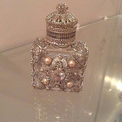 Vintage Silver Overlay Glass Bottle with pearl and Clear Stone with Applicator