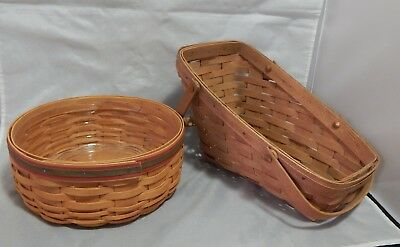 2 Longaberger Baskets One Round and Other Slanted