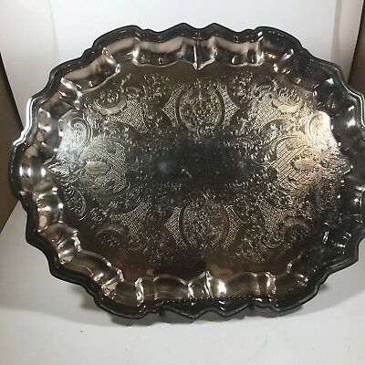 Vintage Etched 1883 F.B. Rogers Silver Co. Silver Plate Footed Serving Tray