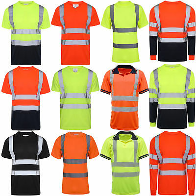 Hi Vis Viz Polo T Shirt High Visibility Reflective Tape Safety Security Work Top