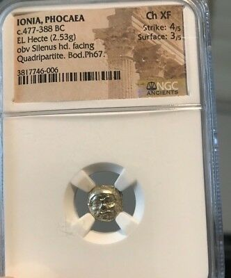GOLD SATYR Death mask -- Very rare -- El Hecte-- 1/6 Stater-- Ancient Gold Coin