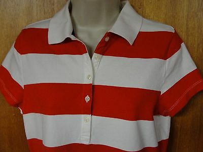 Tommy Hilfiger Red & White Striped Polo Top, Size M