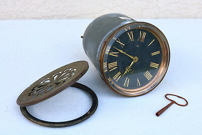 Antique HEAVY Mantle Style Clock with Gears OLD parts STEAM key AS IS for parts