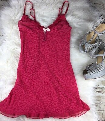 Victoria's Secret Red Pink Floral Lace Lingerie Baby Doll Sexy Size S