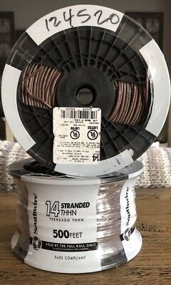 Southwire 22962558 500-Ft 14-AWG Stranded Brown Copper THHN Wire Roll *Lot Of 2*