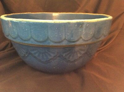 Vintage Large Blue Stoneware Pottery Mixing Bowl Picket & Drape Pattern 10 1/2""