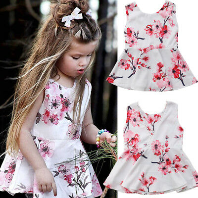 Toddler Kids Baby Girls Summer Outfits Clothes Cotton Floral T-shirt Tops Dress