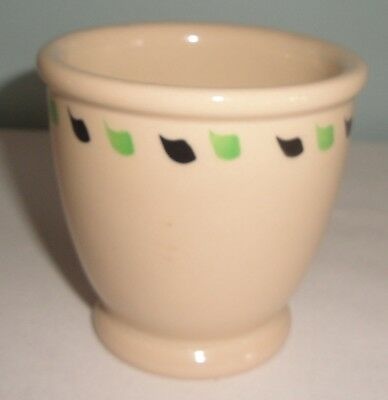 Syracuse Adobe Ware Restaurant China Egg Cup Black Green Scrolls