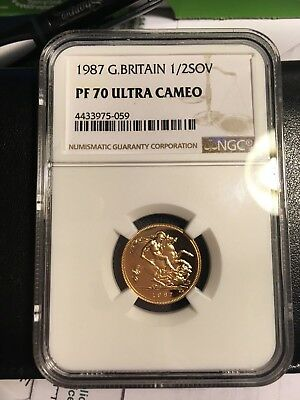 1987 Gold Great Britain 1/2 Sovereign NGC PF70 Ultra Cameo Low Mintage Series