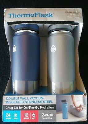 ThermoFlask 2 Pack 24oz Double Wall Vacuum Insulated Navy/gray