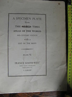 The Times Atlas Of The world Specimen Plate of France South West