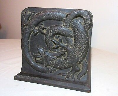 LARGE antique detailed hand carved wood dragon figural bookends book shelf stand