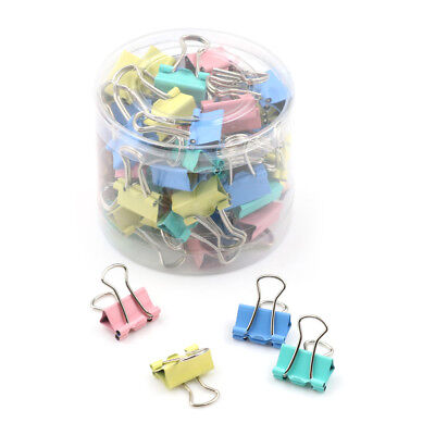 60Pcs 15mm Colorful Metal Binder Clips File Paper Clip Holder Office Supply _US