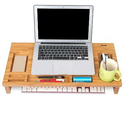 Bamboo Desktop Stand - Computer Screen Wooden Monitor Laptop Riser Organiser AU