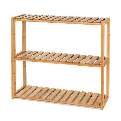 Kitchen Storage Rack Basket Wall Mounted Stand Bamboo Organiser Display Holder