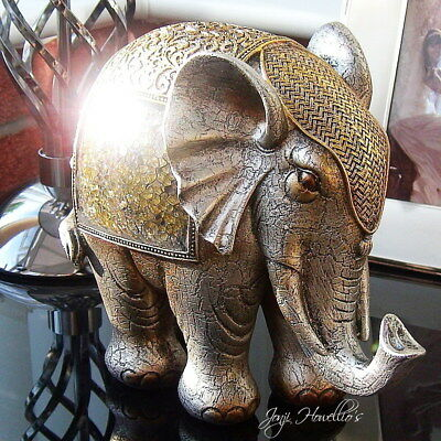 Large Jumbo ELEPHANT Ornament Figurine Gold Crackle Glass Design 19cm Elephants