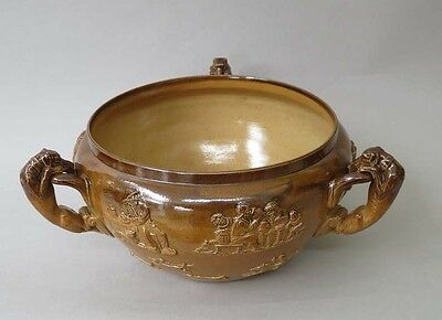 Doulton Lambeth bowl, huting dogs, horses and taverns scenes