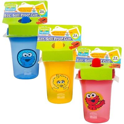Sesame Street Beginnings 8oz SPILL PROOF CUP Sippy Cup new Free Shipping