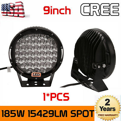 9inch 185W Black CREE LED Round Work Lights Spot Driving Head Light offroad SUV