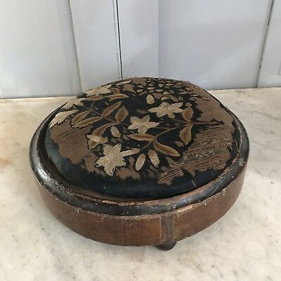Antique Victorian embroidered footstool