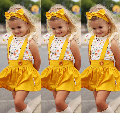 US Stock Toddler Baby Kids Girls Summer Floral Tops Skirt Outfits Set Clothes