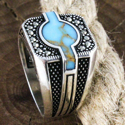 SPECIAL Turkish Handmade 925 Sterling Silver Turquoise Stone Luxury Men Ring 9.5