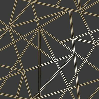 Paladium Geometric Wallpaper Black / Gold Holden 90114 Metallic Feature Wall New