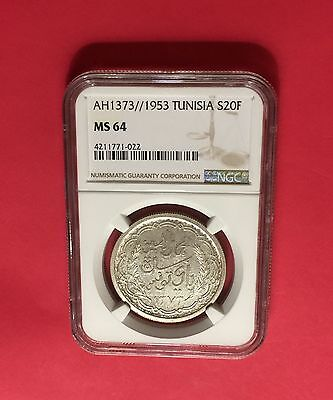 Tunisia -Ah1373(Ad1953 )Silver 20 Francs Ngc Ms64 Extra Rare! Low Mintage!