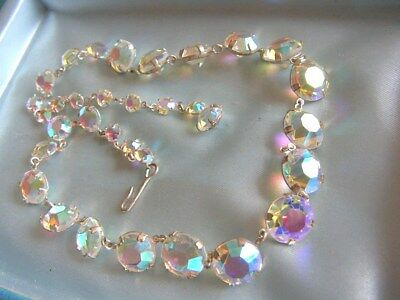 Beautiful Vintage goldtone sparkling aurora borealis open backed necklace
