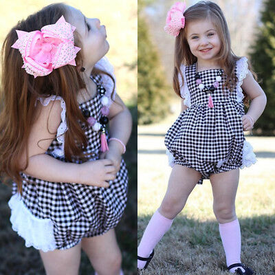 Cute Newborn Baby Girl Lace Plaid Romper Jumpsuit Playsuit Outfit Clothes Summer