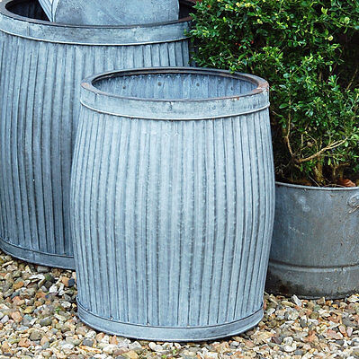 Vintage style galvanised metal dolly tub garden planter