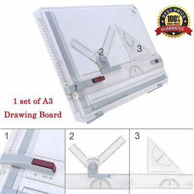 MultiFunction A3 Drawing Board Drafting Table Set(Magnetic Clamping Bar,ruler)