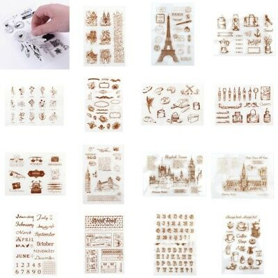 DIY Transparent Clear Silicone Rubber Alphabet Stamp Cling Diary Scrapbooking