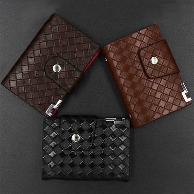 1pc Credit Card Holder Synthetic Leather Weave Wallet 26 Clear Pocket Card Slots