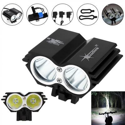 SolarStorm 2400LM X2 CREE XM-L U2 Bicycle Bike Headlight Torch +Battery+ Charger