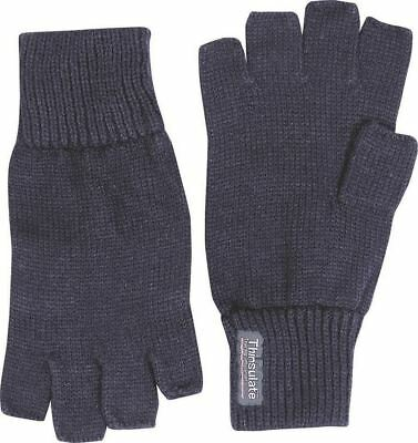 Thinsulate Knitted Fingerless Gloves Mens Thermal Winter Warm Cold Woolly Mitts