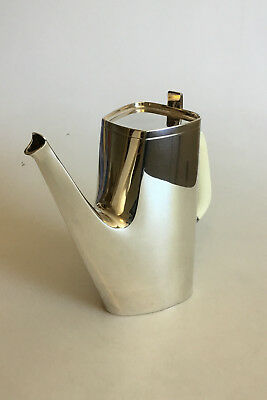 Cohr Sterling Silver Coffee Pot with Handle of Bon. Designed by Hans Bunde